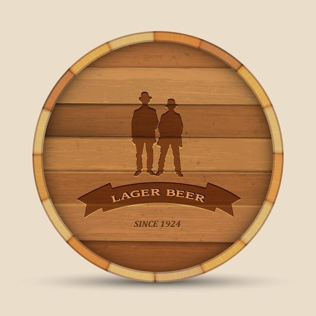 Vector bieretiket in vorm houten vat met twee mannen Premium Vector