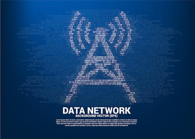 Vector binaire codestijl van het antennetorenpictogram. concept voor gegevensoverdracht van mobiel en wi-fi gegevensnetwerk. Premium Vector