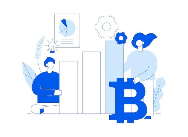 Vector bitcoin-investering Premium Vector