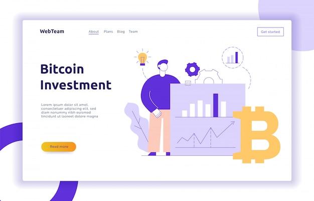 Vector bitcoin investeringen moderne platte lijn illustratie Premium Vector