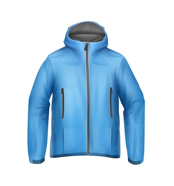 Vector blauw softshell unisex sportjack met capuchon vooraanzicht geïsoleerd op een witte achtergrond Gratis Vector