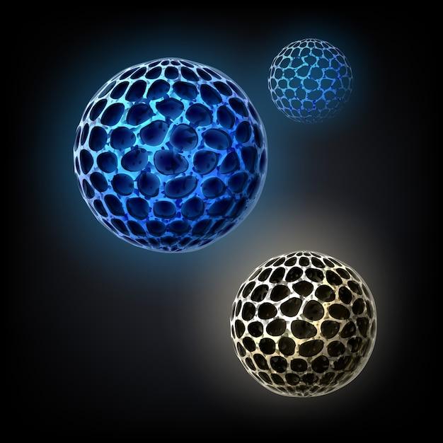 Vector blauwe bacteriële cellen concept close-up geïsoleerd op zwarte achtergrond Gratis Vector