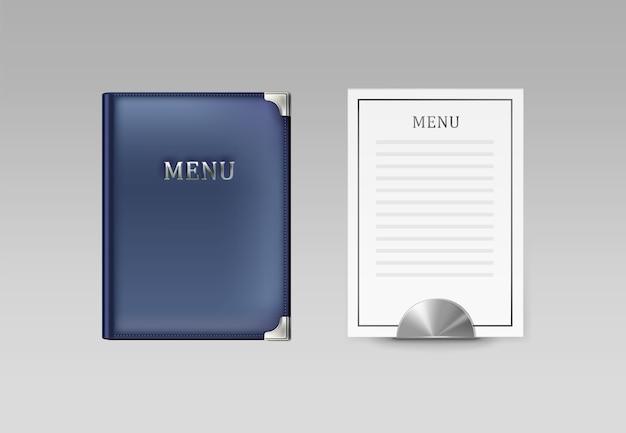 Vector blauwe café menuboekhouder en witte kaart bovenaanzicht geïsoleerd op een grijze achtergrond Gratis Vector