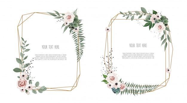 Vector bloemen botanisch kaartontwerp Premium Vector