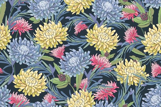 Vector bloemen naadloos patroon. lichtblauwe, roze en gele herfstaster, chrysanthemum, rozemarijn, gaillardia Premium Vector
