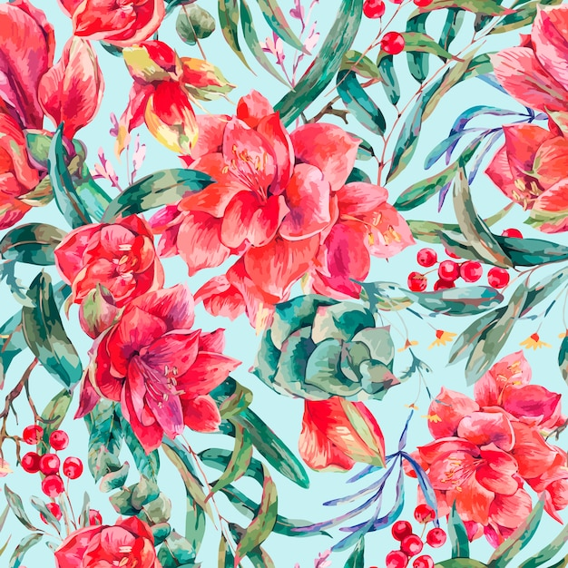 Vector bloemen naadloos patroon van rode bloemen amaryllis Premium Vector