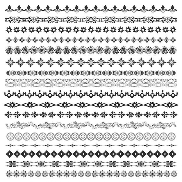 Vector borstel set met moderne en klassieke patronen, bloemenmotieven om borden te scheiden, te verdelen en te versieren. line art frames voor uitnodigingen, verjaardag en wenskaarten, certificaat. Premium Vector