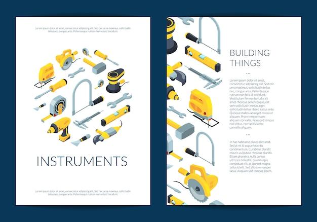 Vector bouw hulpmiddelen sjabloon folder Premium Vector