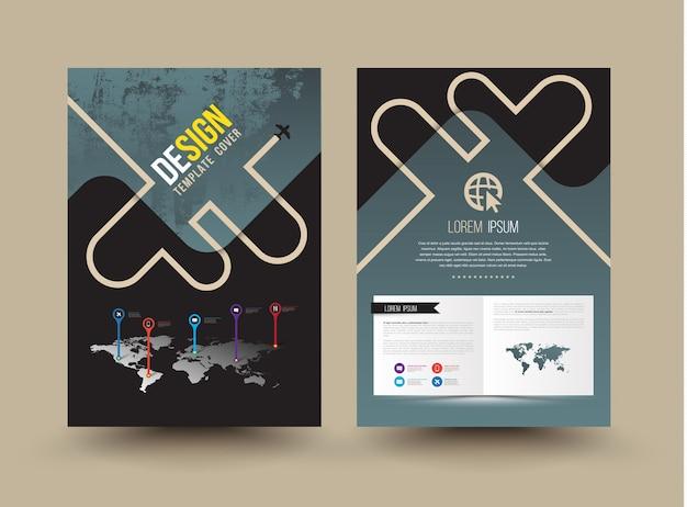 Vector brochure sjabloonontwerp cartoon stijl Premium Vector