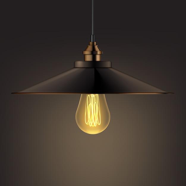 Vector bronzen glanzende kroonluchter lamp voorkant, zijaanzicht close-up op donkere achtergrond Gratis Vector