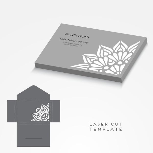 Vector bruiloft kaart laser gesneden sjabloon Gratis Vector