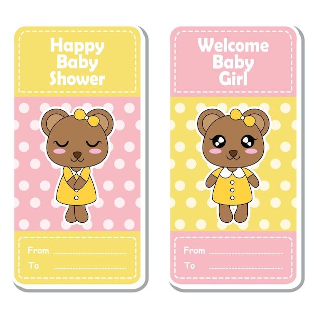 Vector cartoon illustratie met schattige beer meiden op roze en gele stippen achtergrond geschikt voor baby shower label ontwerp, banner set en uitnodigingskaart Premium Vector
