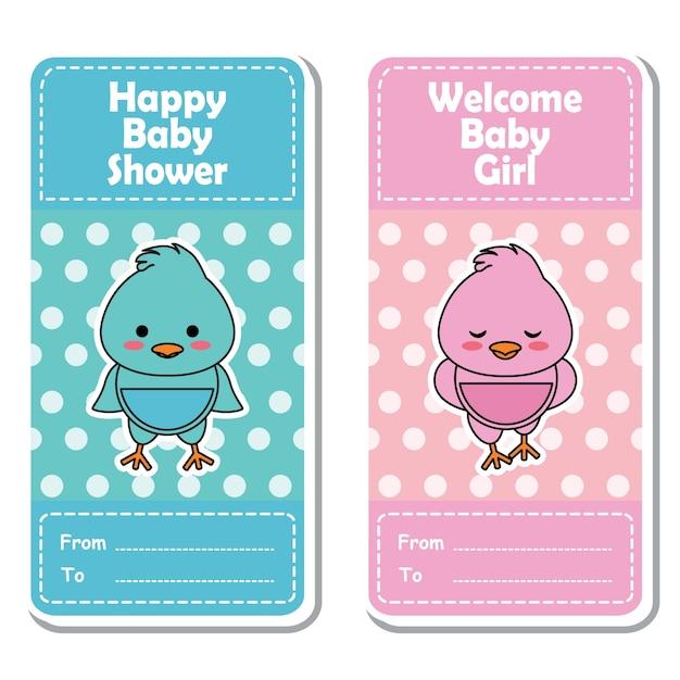 Vector cartoon illustratie met schattige roze en blauwe baby chick op polka dot achtergrond geschikt voor baby shower label ontwerp, banner set en uitnodigingskaart Premium Vector