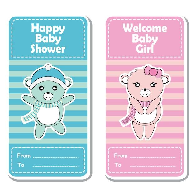 Vector cartoon illustratie met schattige roze en blauwe babyberen op gestreepte achtergrond geschikt voor baby shower label ontwerp, banner set en uitnodigingskaart Premium Vector