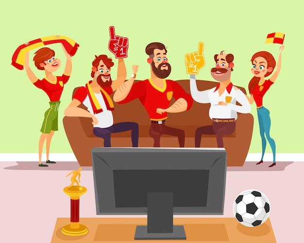 Vector cartoon illustratie van een groep vrienden kijken naar een voetbalwedstrijd op tv Gratis Vector
