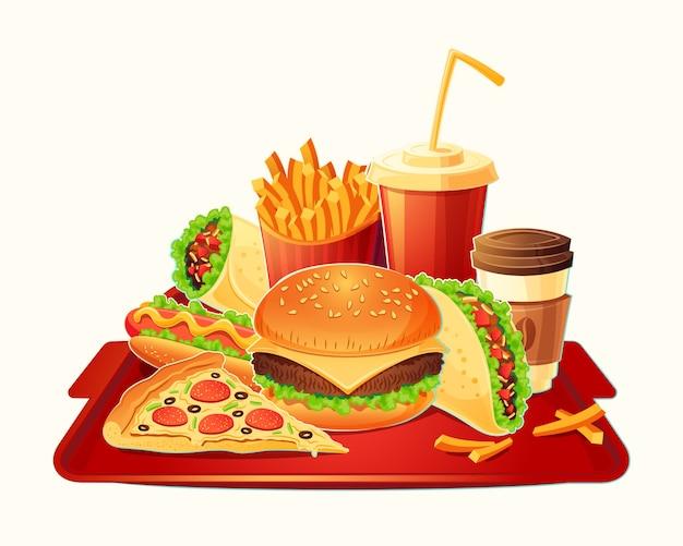 Vector cartoon illustratie van een traditionele set van fastfood maaltijd Gratis Vector