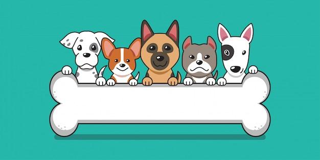 Vector cartoon schattige honden met groot bot Premium Vector