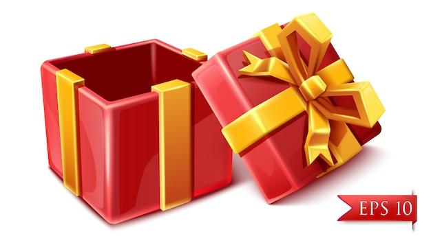 Vector cartoon stijl rode viering doos met gouden linten geopend. Premium Vector