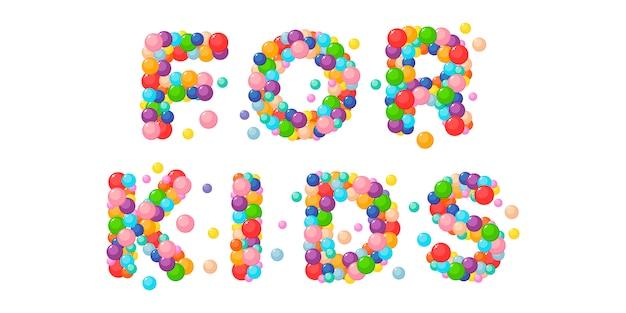 Vector cartoon zin voor kinderen van gekleurde ballen. Premium Vector