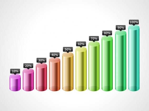 Vector cilinderstaaf kleurrijke die grafiek op witte achtergrond wordt geïsoleerd Premium Vector