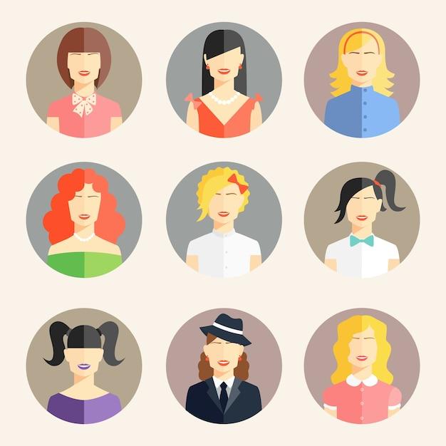 Vector collectie van vrouwen avatars in vlakke stijl Premium Vector