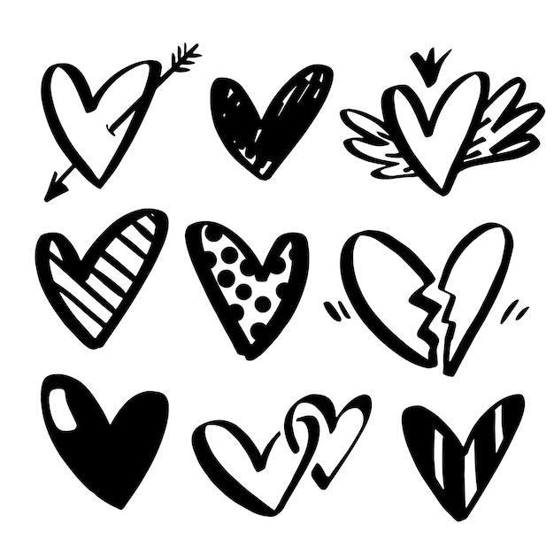 Vector collecties van hand getrokken harten geïsoleerd op transparante achtergrond. Premium Vector