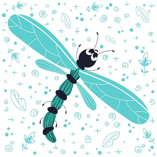 Vector cute cartoon bug, dragonfly, flat en doodles Premium Vector