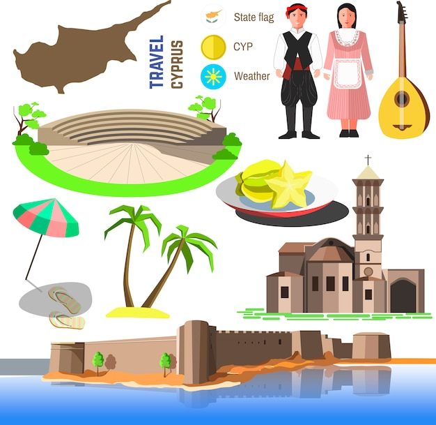 Vector cyprus symbolen en pictogrammen. Premium Vector