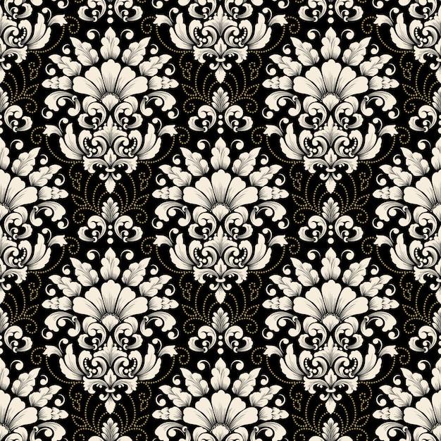 Vector damast naadloze patroon achtergrond. het klassieke ornament van het luxe ouderwetse damast Gratis Vector