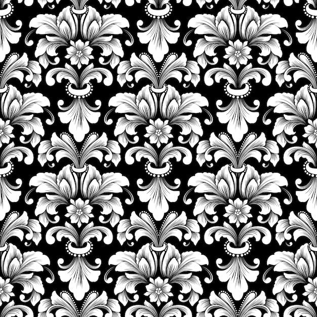 Vector damast naadloze patroon achtergrond. klassieke luxe ouderwetse damast ornament, koninklijke victoriaanse naadloze textuur voor achtergronden, textiel, onmiddellijke verpakking. Gratis Vector