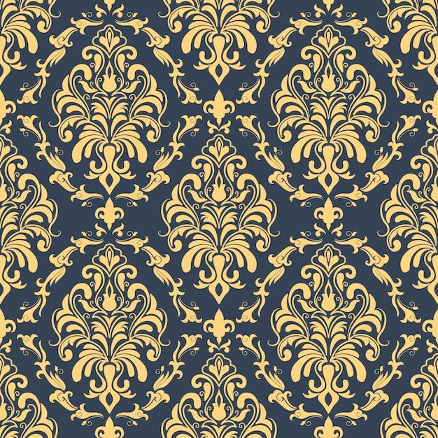 Shepherd Gold On Blue Silhouette Ornament: Vector Damast Naadloze Patroon Achtergrond. Klassieke Luxe