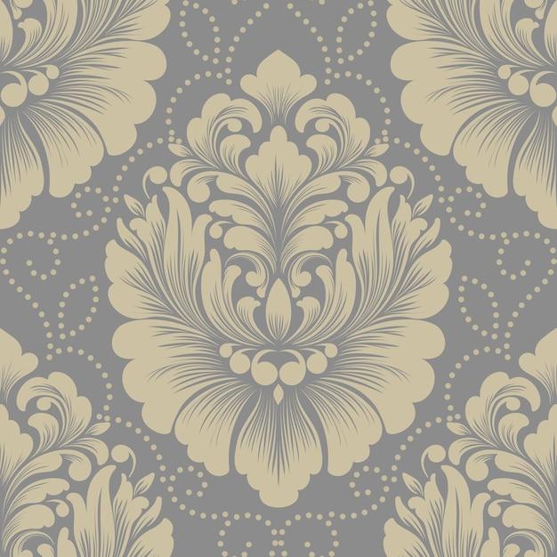 Vector damast naadloze patroonelement. klassiek luxe ouderwetse damast ornament, koninklijke victoriaanse naadloze textuur voor achtergronden, textiel, onmiddellijke verpakking. exquise bloemen barokke sjabloon. Gratis Vector