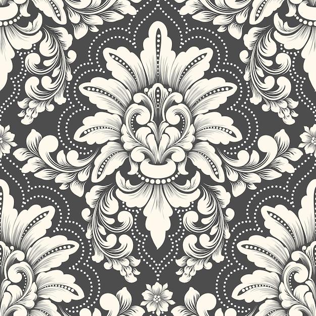 Vector damast naadloze patroonelement. klassieke luxe ouderwetse damast ornament, koninklijke victoriaanse naadloze textuur voor achtergronden, textiel, onmiddellijke verpakking. Gratis Vector