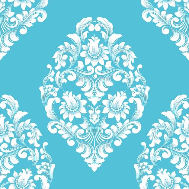 Vector damast naadloze patroonelement. klassieke luxe ouderwetse damast ornament, koninklijke victoriaanse stijl Gratis Vector