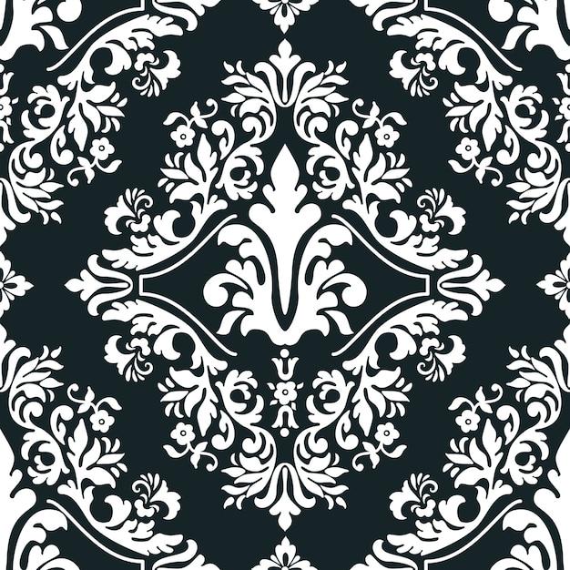 Vector damast naadloze patroonelement voor behang, textiel, onmiddellijke verpakking. Gratis Vector