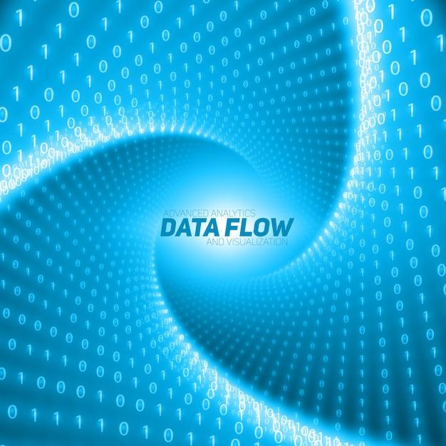 Vector datastroom visualisatie. blauwe stroom van big data als binaire getallenreeksen die in een tunnel worden gedraaid. informatiecode weergave. cryptografische analyse. Gratis Vector