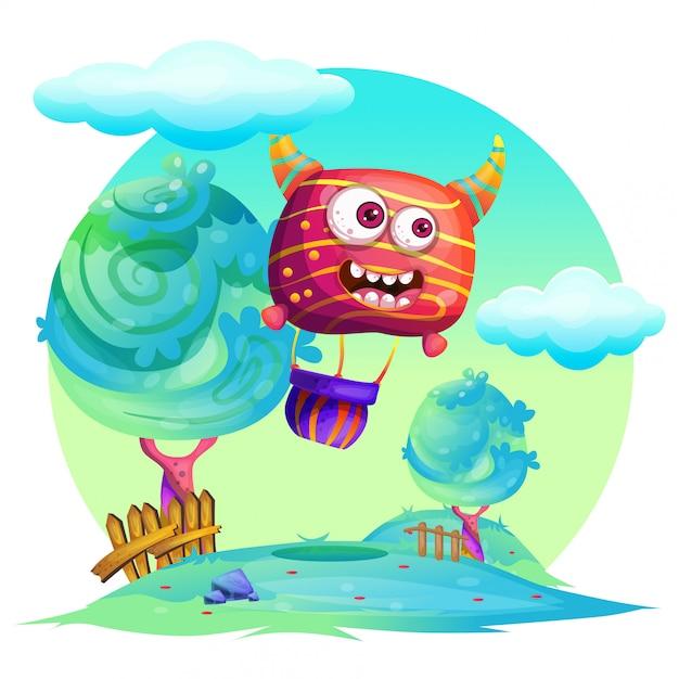 Vector de luchtballon van de beeldverhaalillustratie Premium Vector