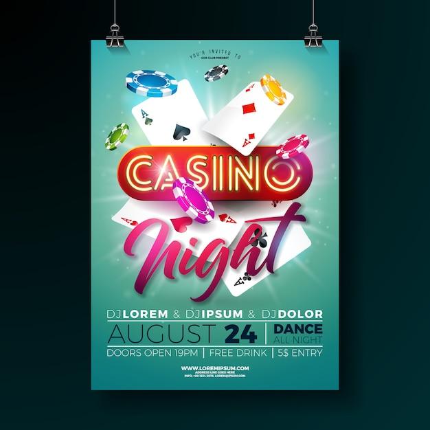 Vector de nachtaffiche van het casino illustratie met het gokken ontwerp Premium Vector