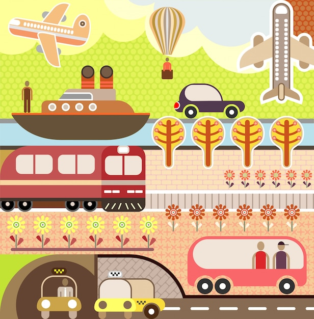 Vector de zomerlandschap met vervoer Premium Vector