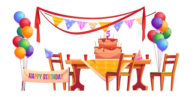 Vector decoratie voor verjaardagsfeestje buiten Gratis Vector