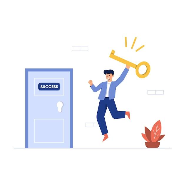 Vector die van zakenman een sleutel houdt om de deur te openen Gratis Vector