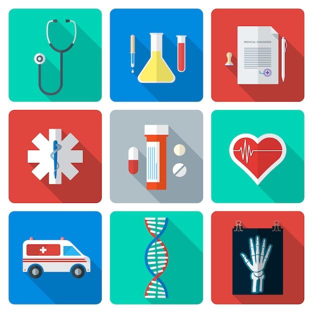 Vector diverse medische pictogrammen van de kleuren vlakke stijl met schaduw Premium Vector