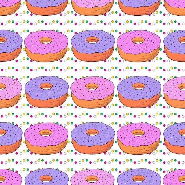 Vector donuts naadloze patroon. doodle verjaardag achtergrond met roze zoete donuts Premium Vector
