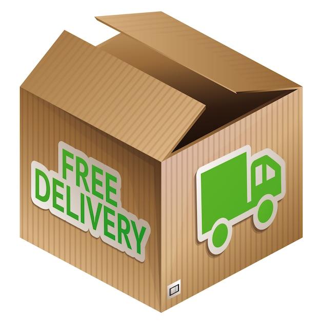 Vector doos met gratis verzending - internet winkelen Premium Vector