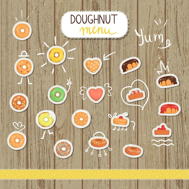Vector doughnutillustratie in beeldverhaalstijl. heldere en schattige illustraties van donut. leuke stickers voor café Premium Vector