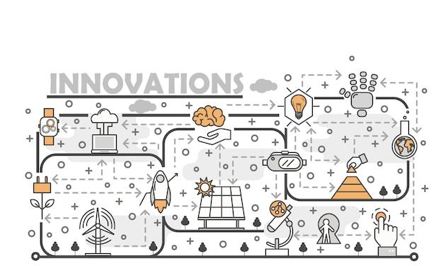 Vector dunne lijn kunst innovaties illustratie Premium Vector