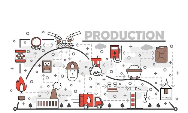 Vector dunne lijn kunst productie illustratie Premium Vector