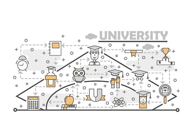Vector dunne lijn kunst universitaire illustratie Premium Vector