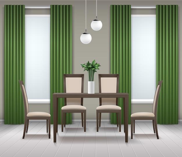 Vector eetkamer interieur met bruin houten tafel, vier stoelen, kroonluchter of lamp, bloem in vaas, ramen en groene gordijnen Gratis Vector
