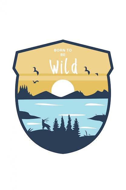 Vector embleem badge van mountain park Premium Vector